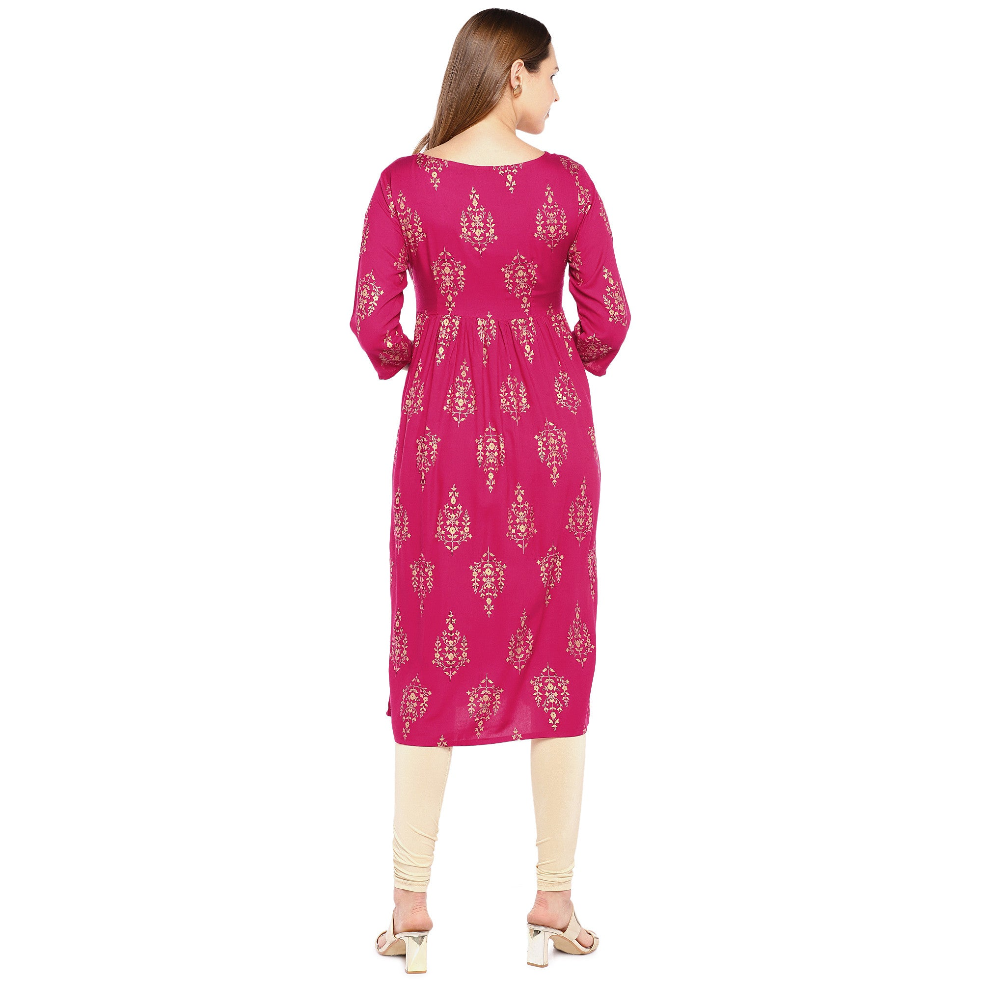 Women Pink Printed Empire Kurta-3