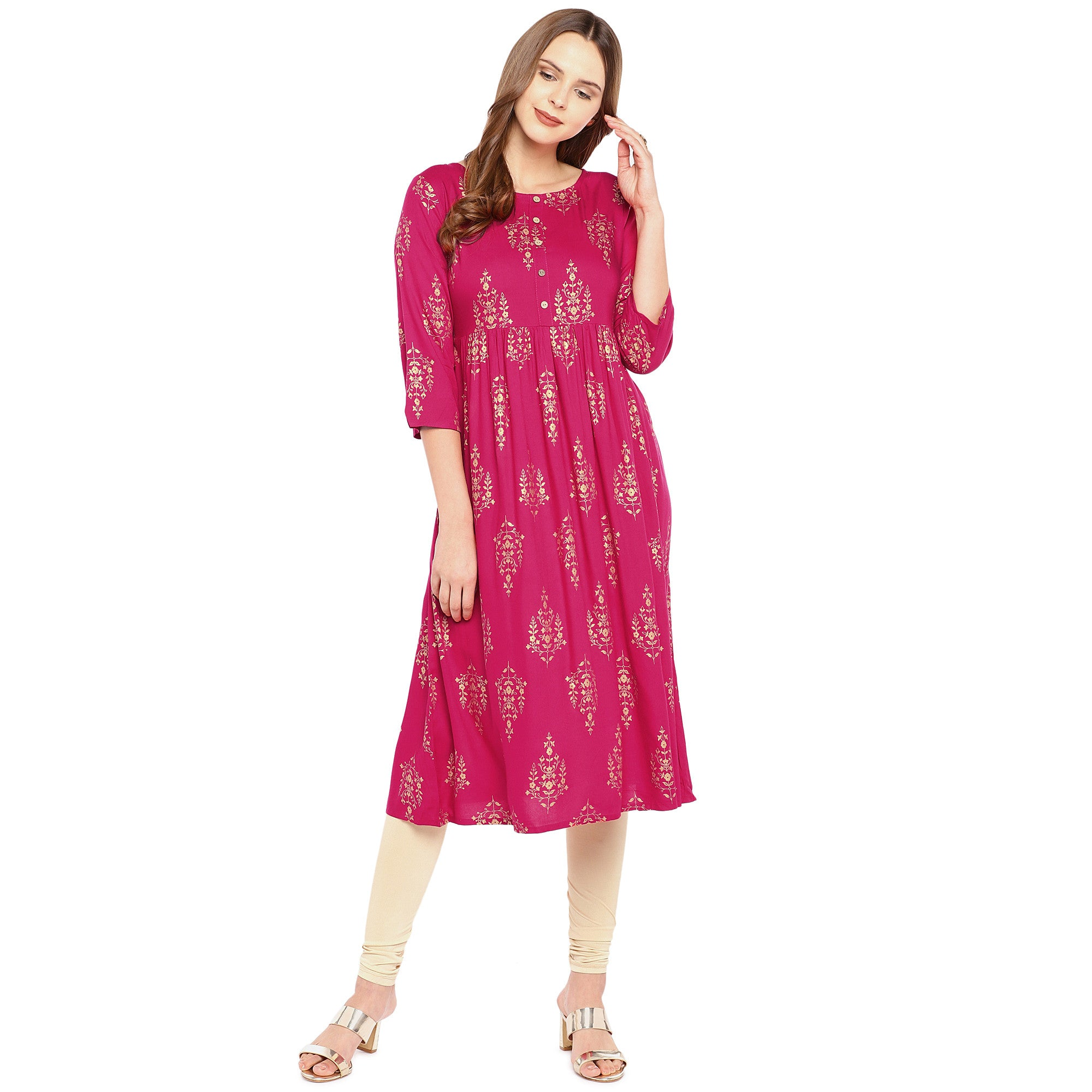 Women Pink Printed Empire Kurta-4