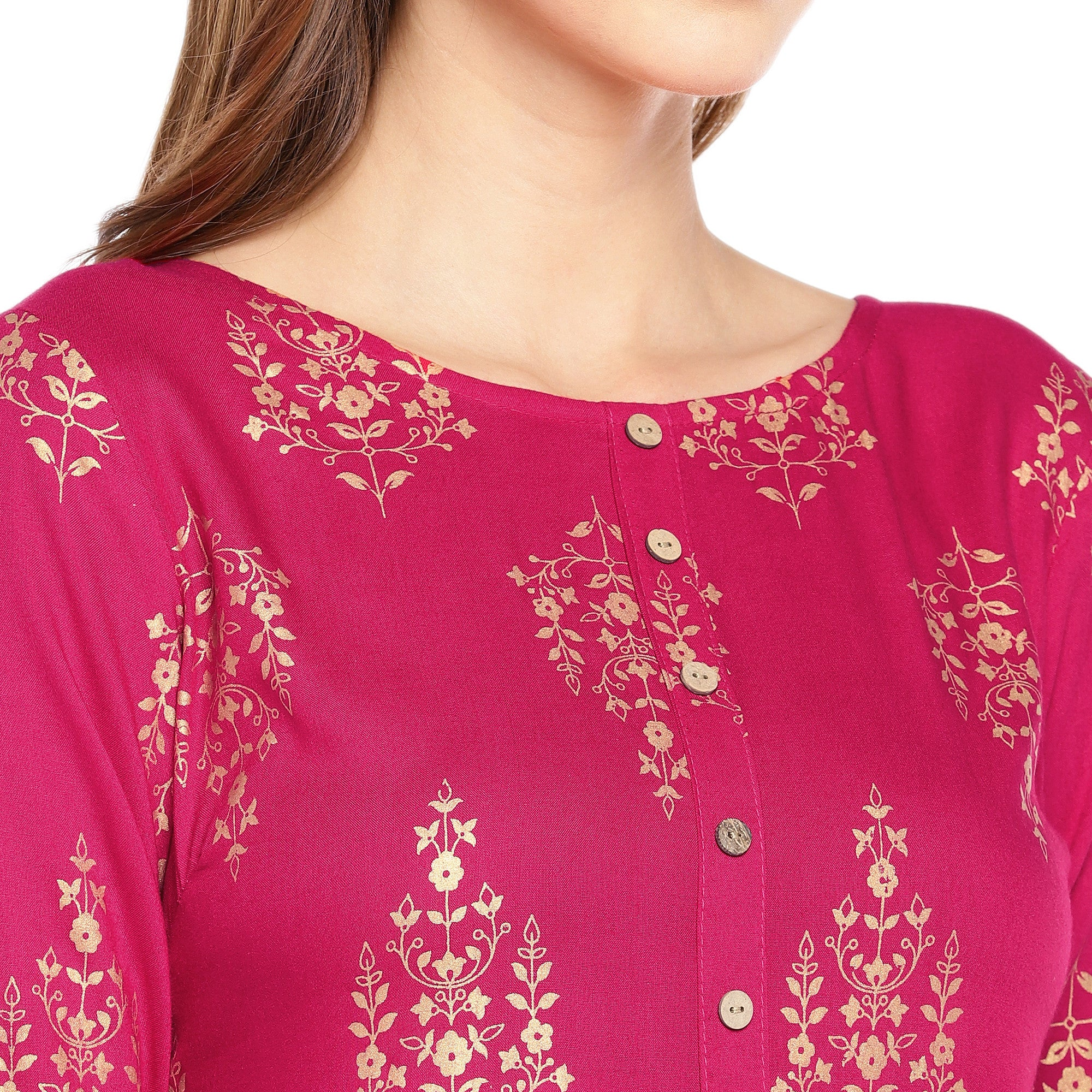 Women Pink Printed Empire Kurta-5