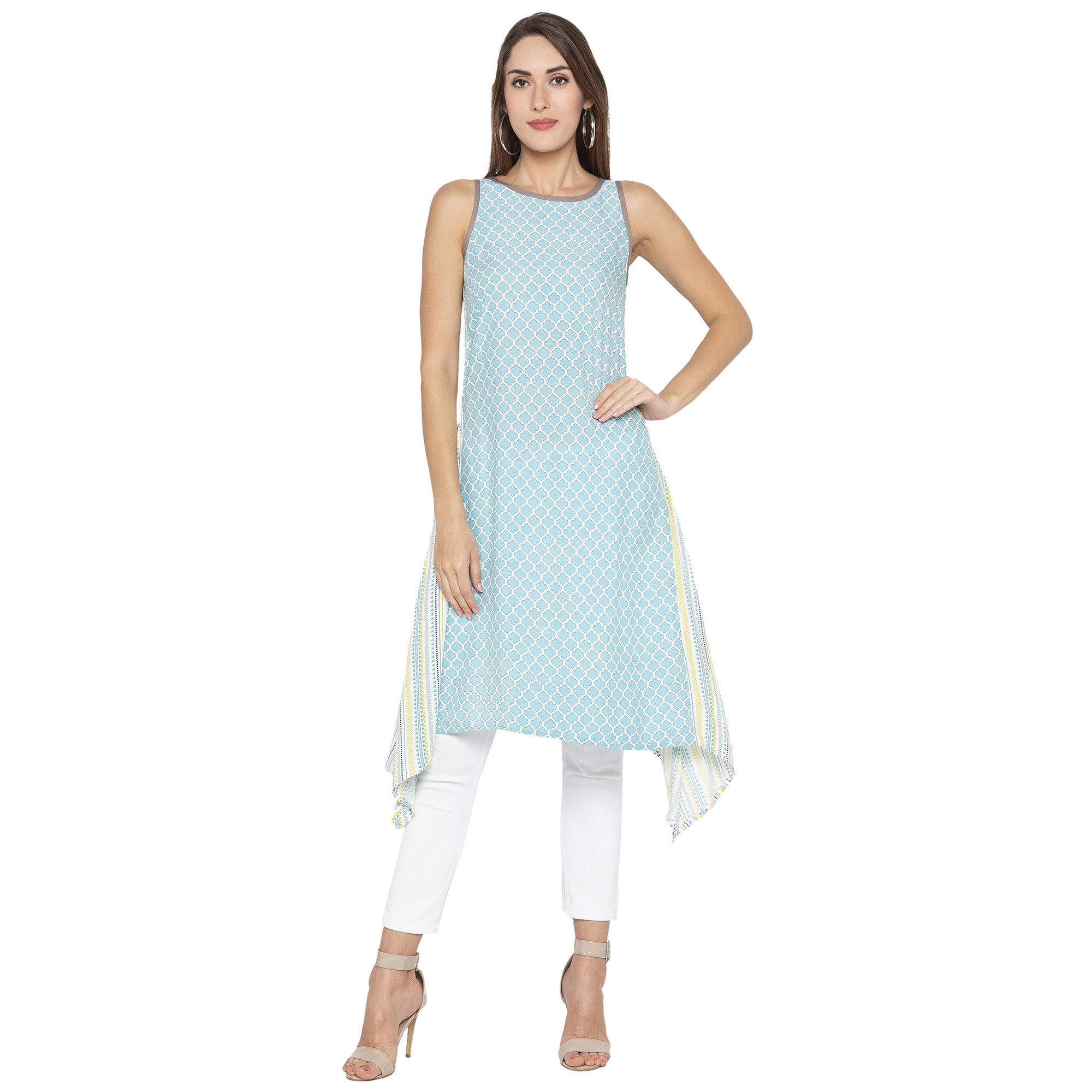 Casual Blue Color A-Line Printed Regular Kurtas-1