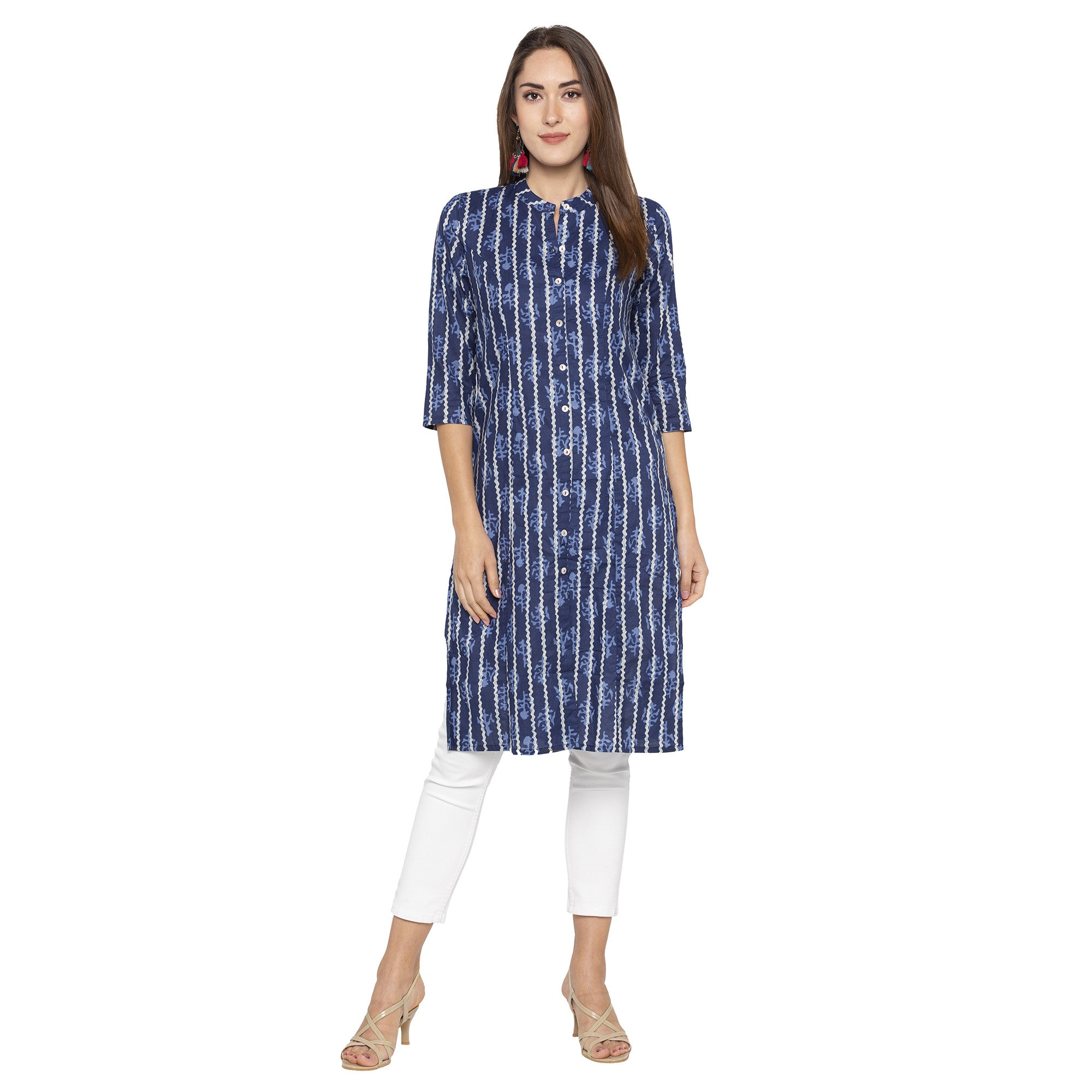 Casual Blue Color Straight Printed Regular Kurtas-1