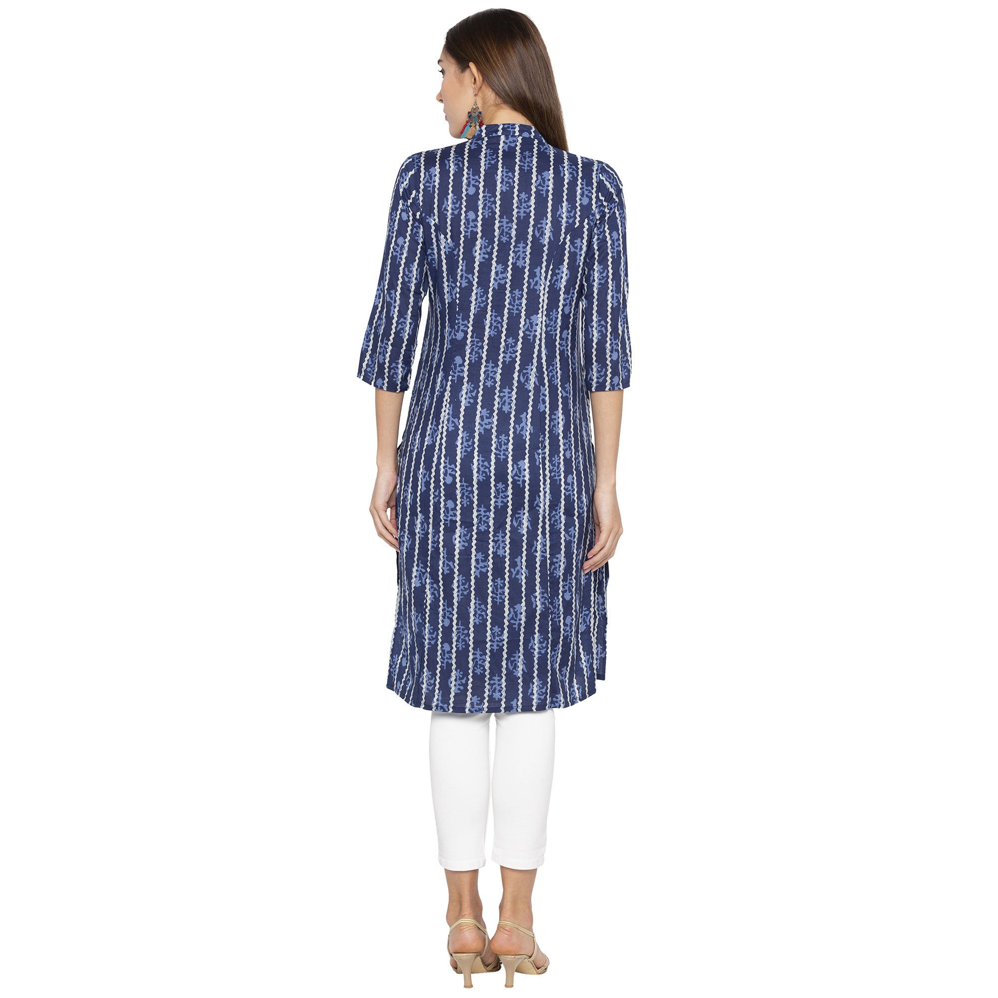 Casual Blue Color Straight Printed Regular Kurtas-3
