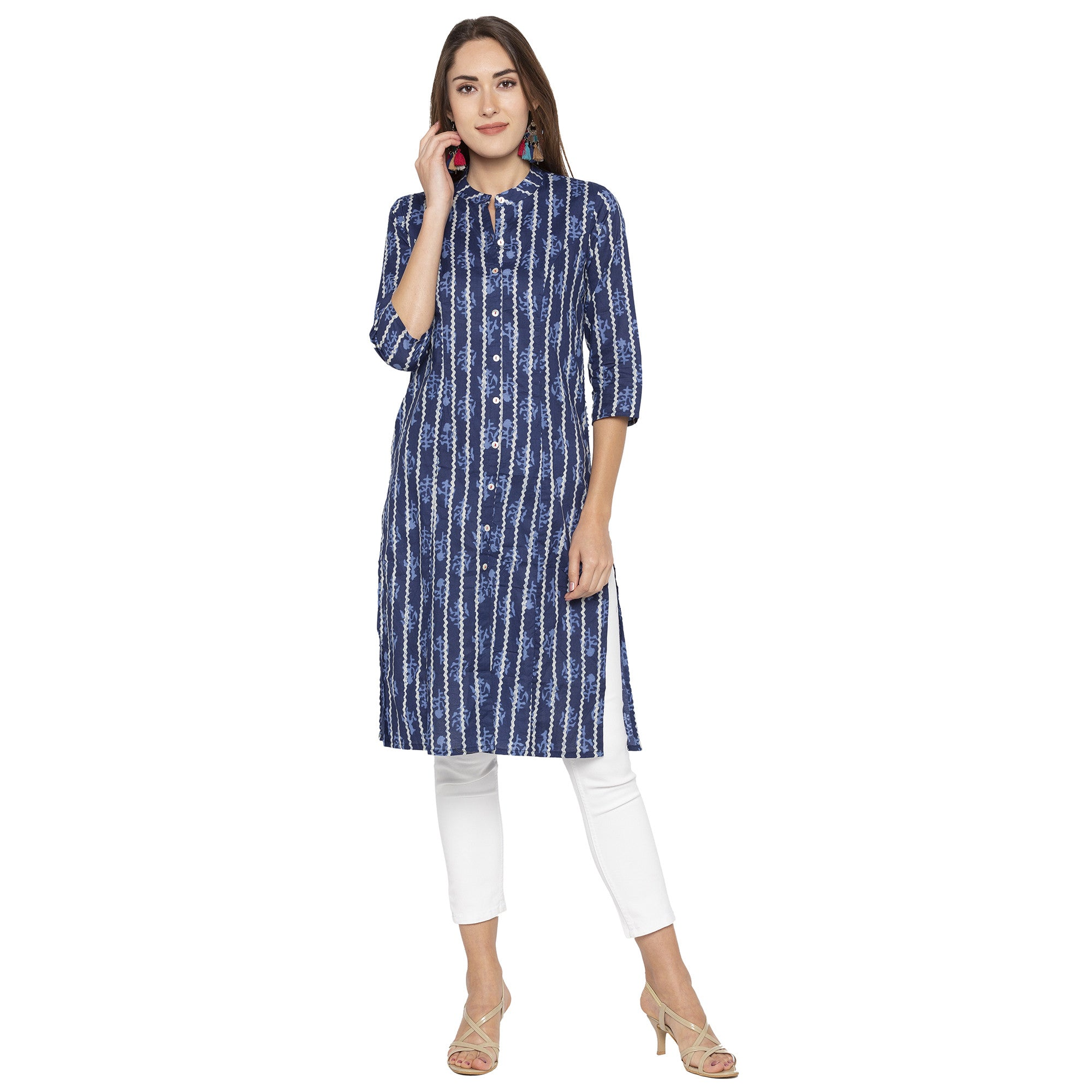 Casual Blue Color Straight Printed Regular Kurtas-4