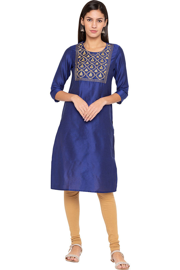 Embroidered Front Yoke Kurta-1