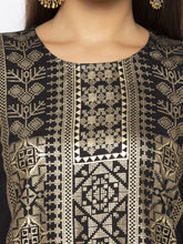 Load image into Gallery viewer, Printed Black A-Line Kurtas-5