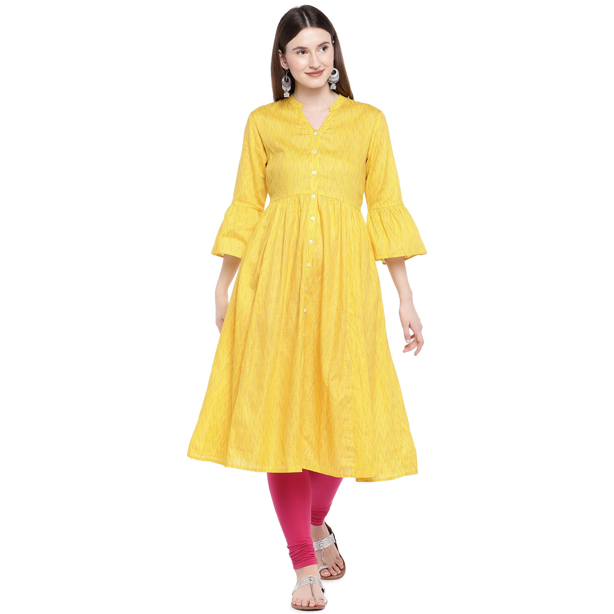 Yellow Printed Anarkali Kurta-1