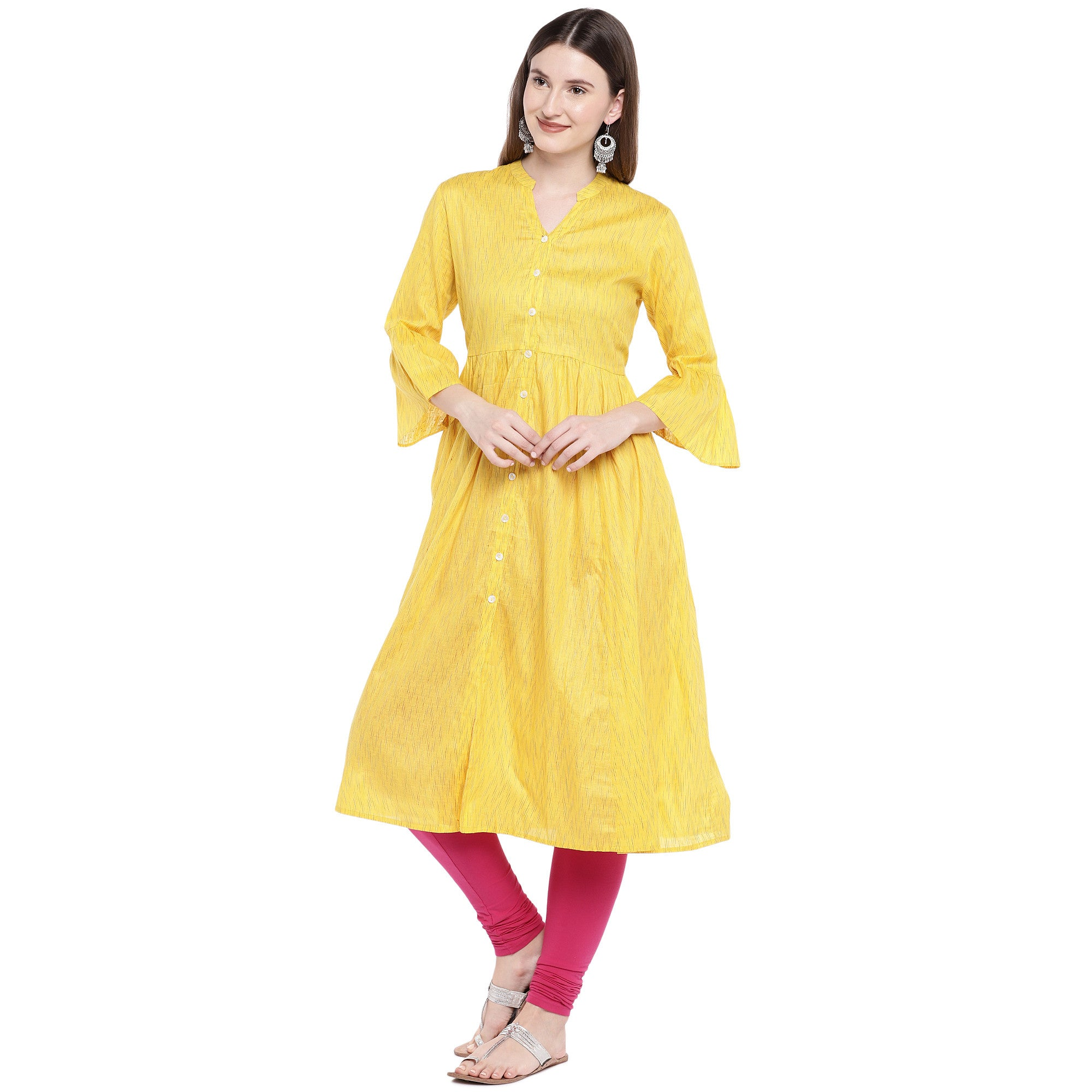 Yellow Printed Anarkali Kurta-2