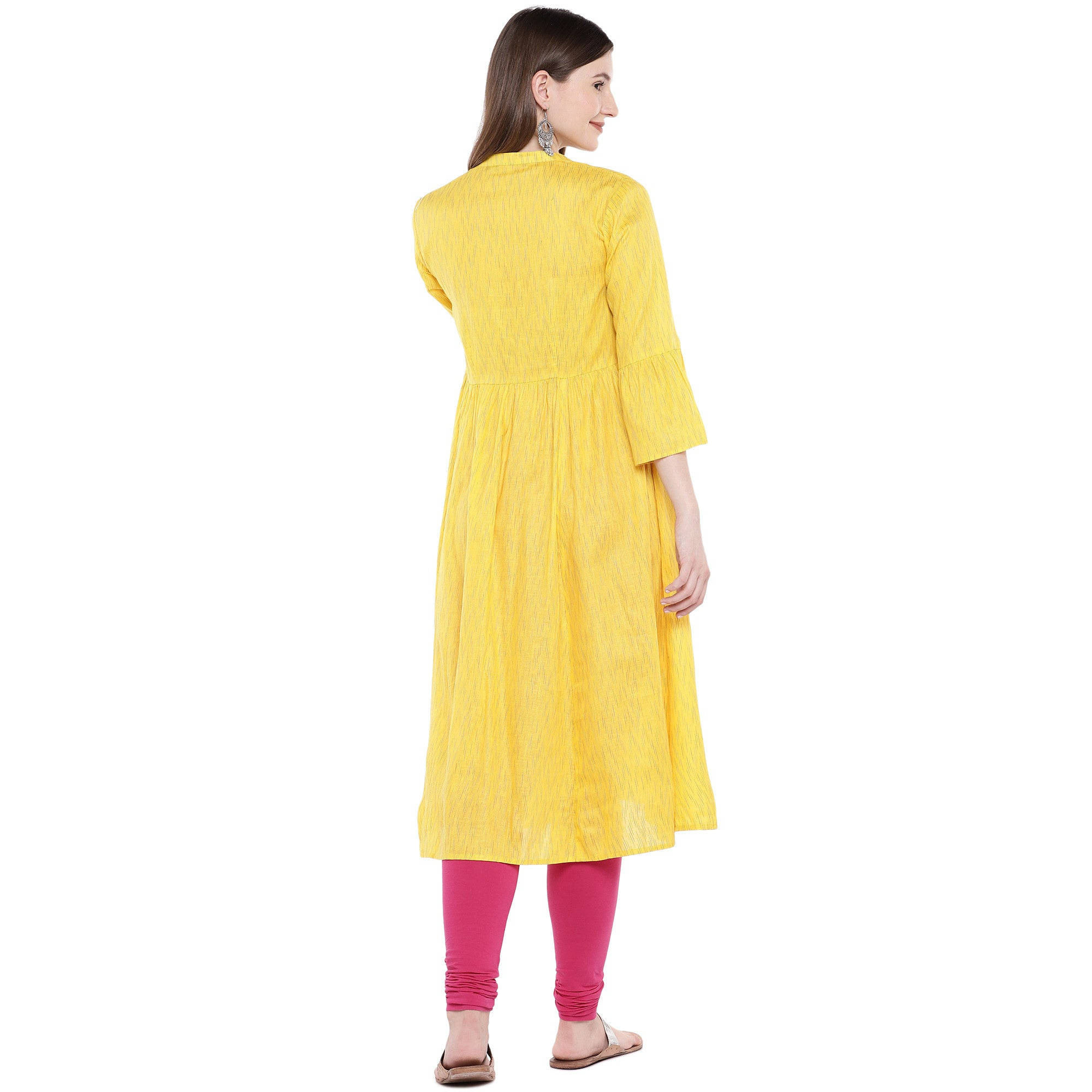 Yellow Printed Anarkali Kurta-3