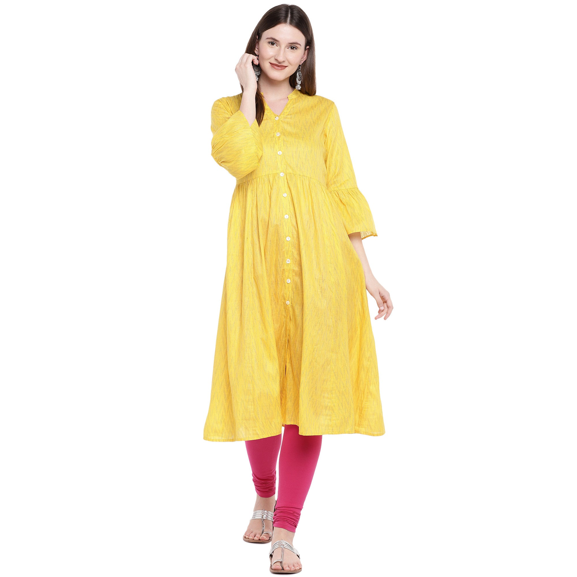 Yellow Printed Anarkali Kurta-4