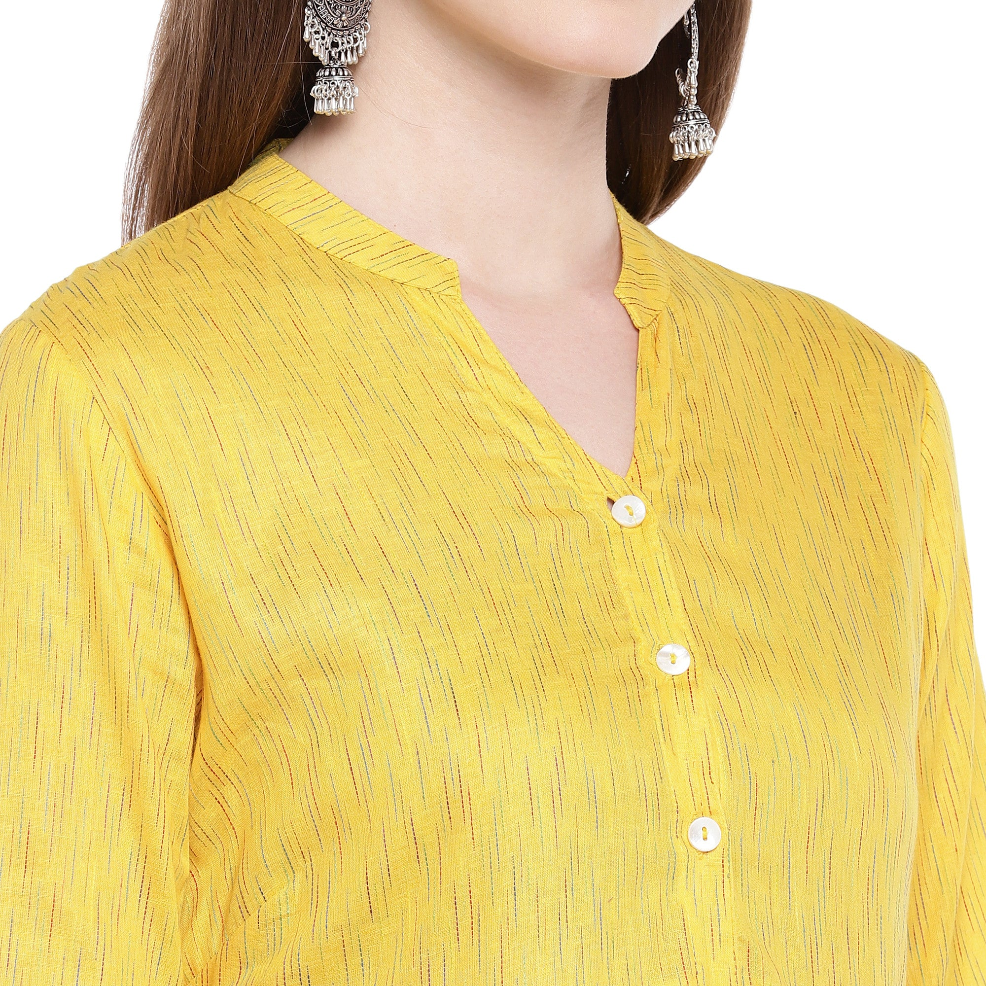 Yellow Printed Anarkali Kurta-5