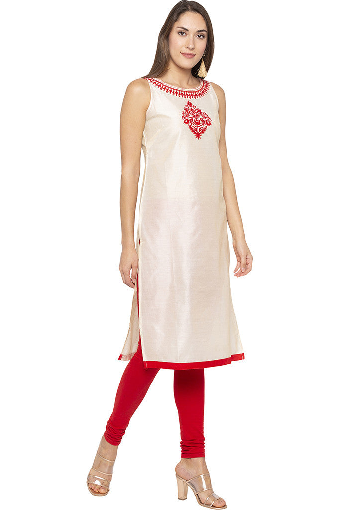 Embroidered Sleeveless Beige Kurta-1