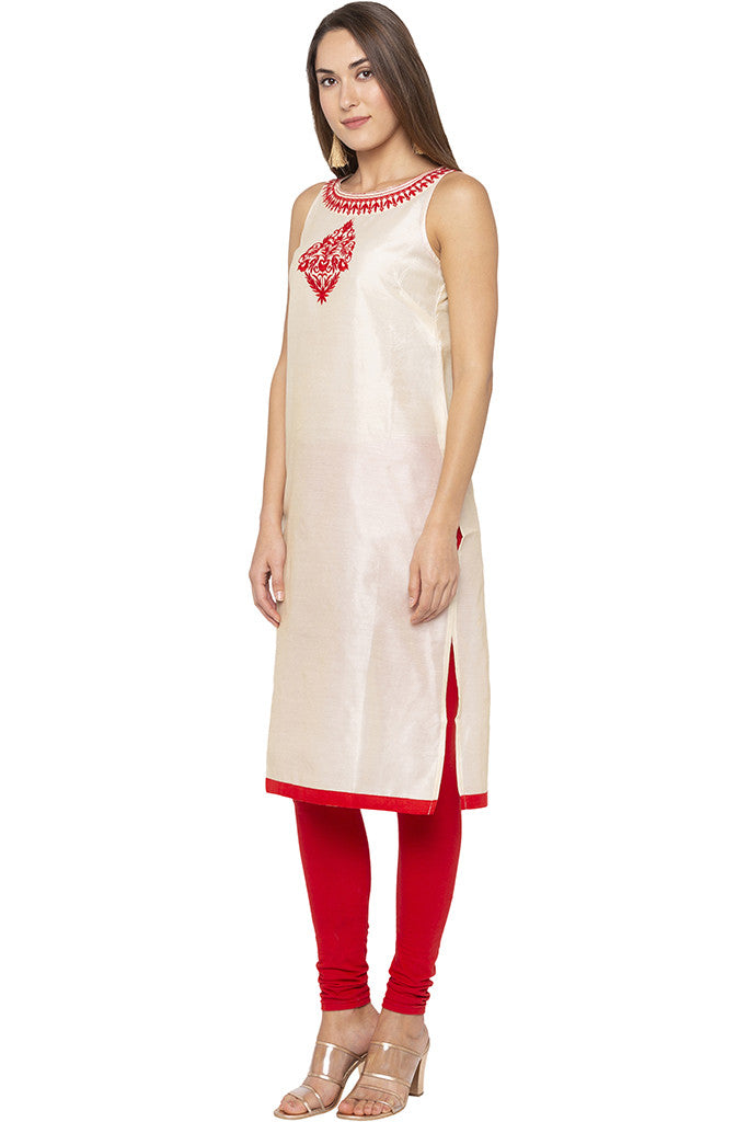 Embroidered Sleeveless Beige Kurta-4
