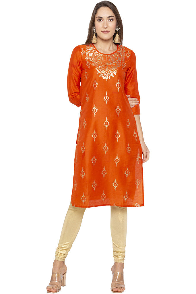Printed Ethnic Orange Kurta-1