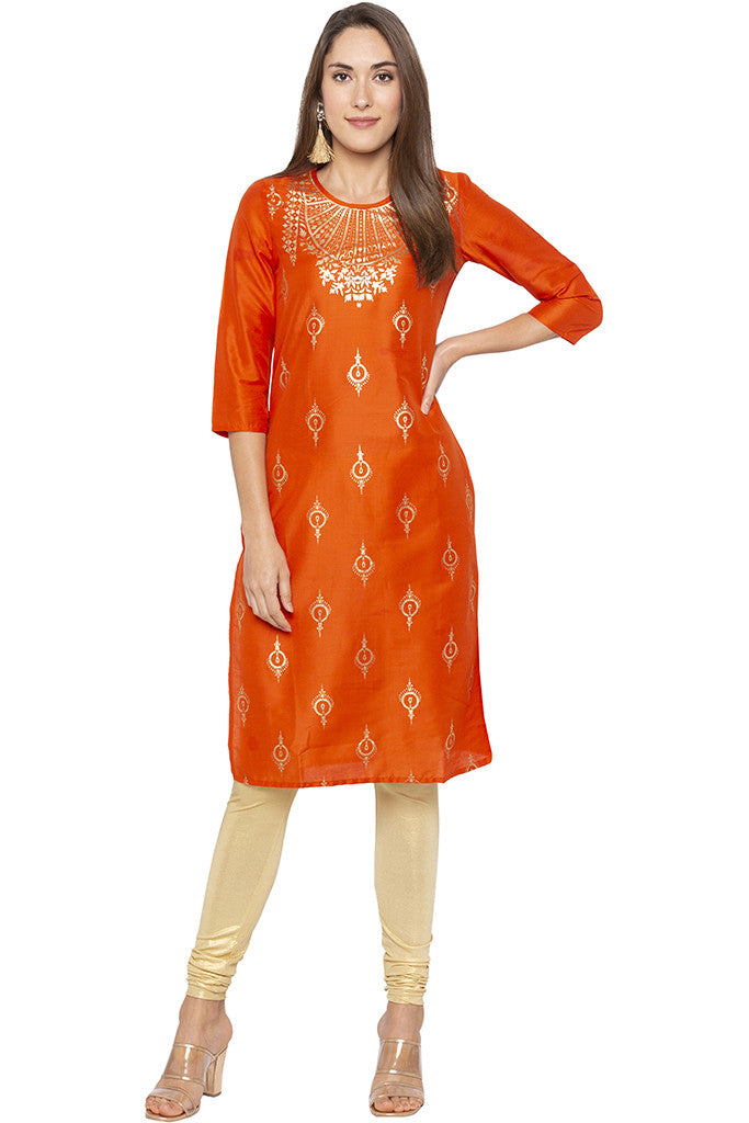 Printed Ethnic Orange Kurta-2