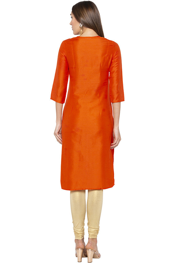 Printed Ethnic Orange Kurta-3