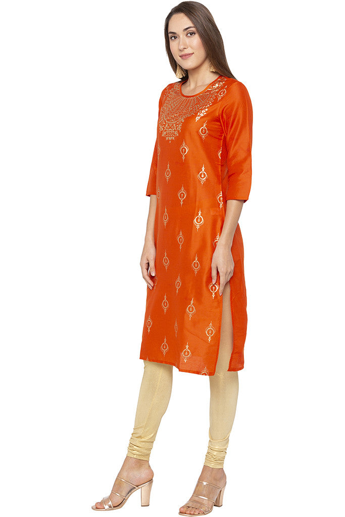 Printed Ethnic Orange Kurta-4