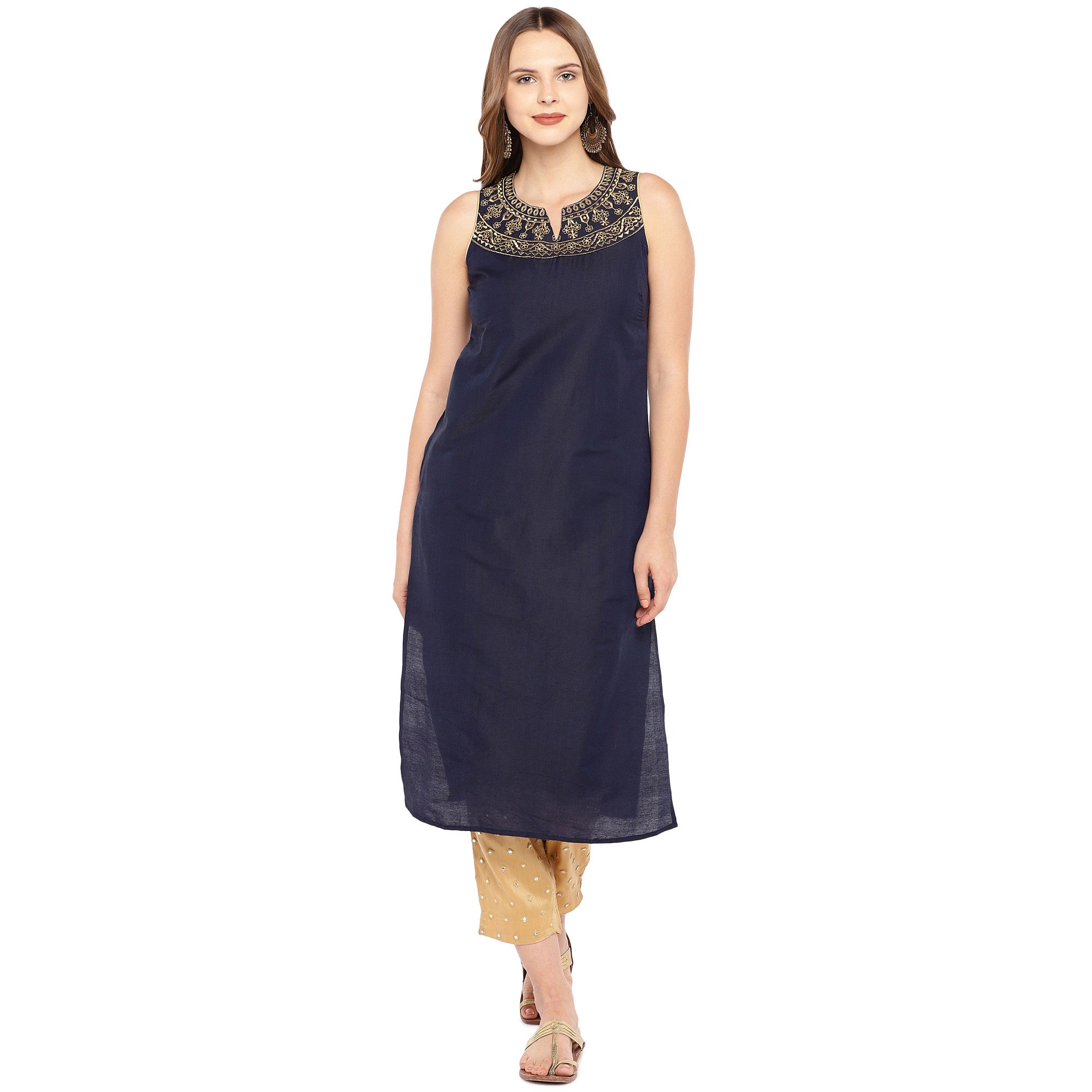 Women Navy Blue Yoke Design Straight Kurta-1