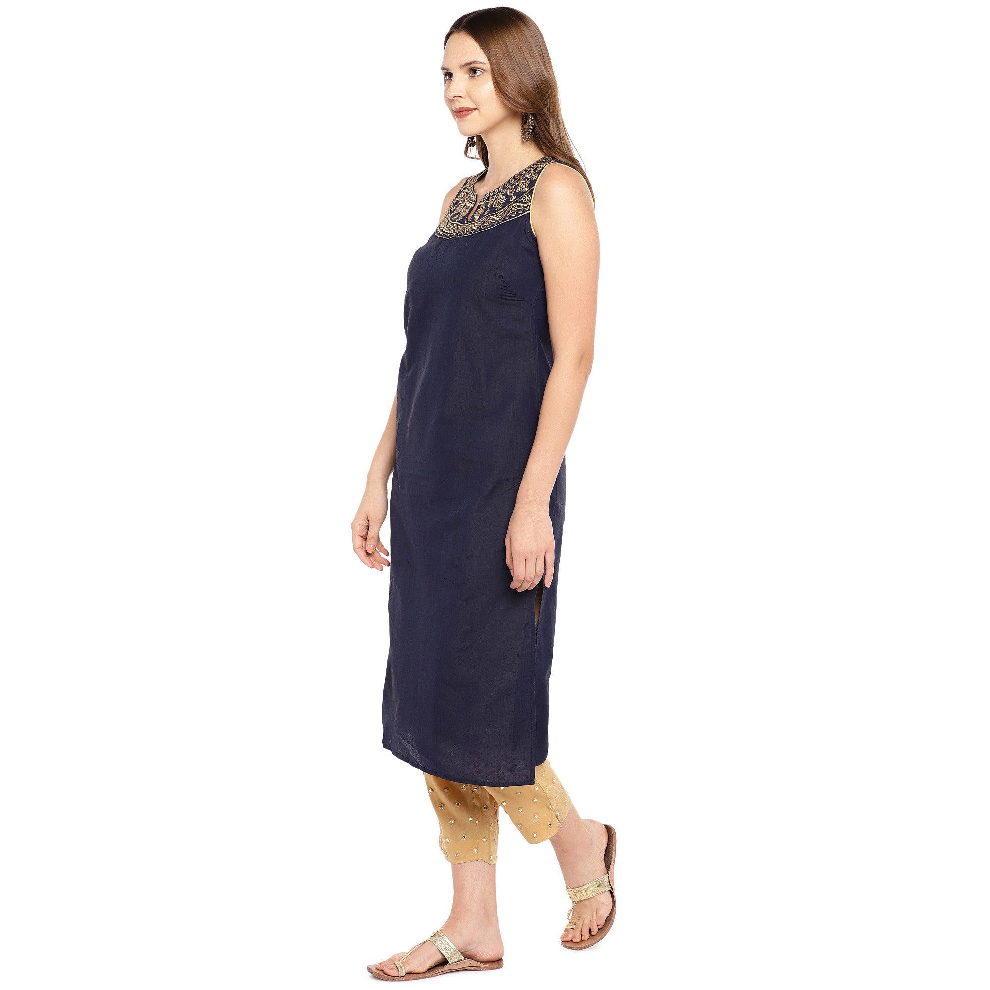 Women Navy Blue Yoke Design Straight Kurta-2
