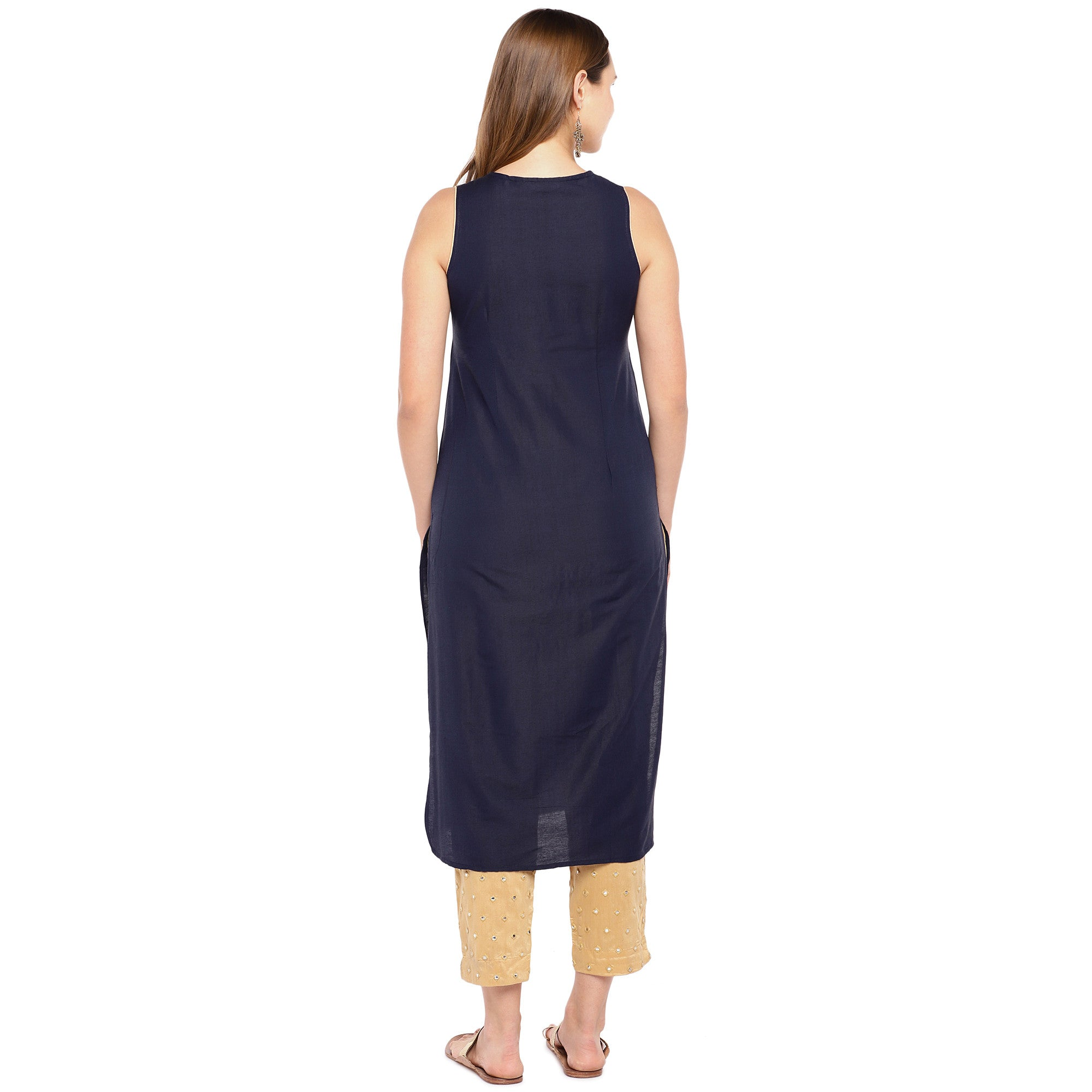 Women Navy Blue Yoke Design Straight Kurta-3