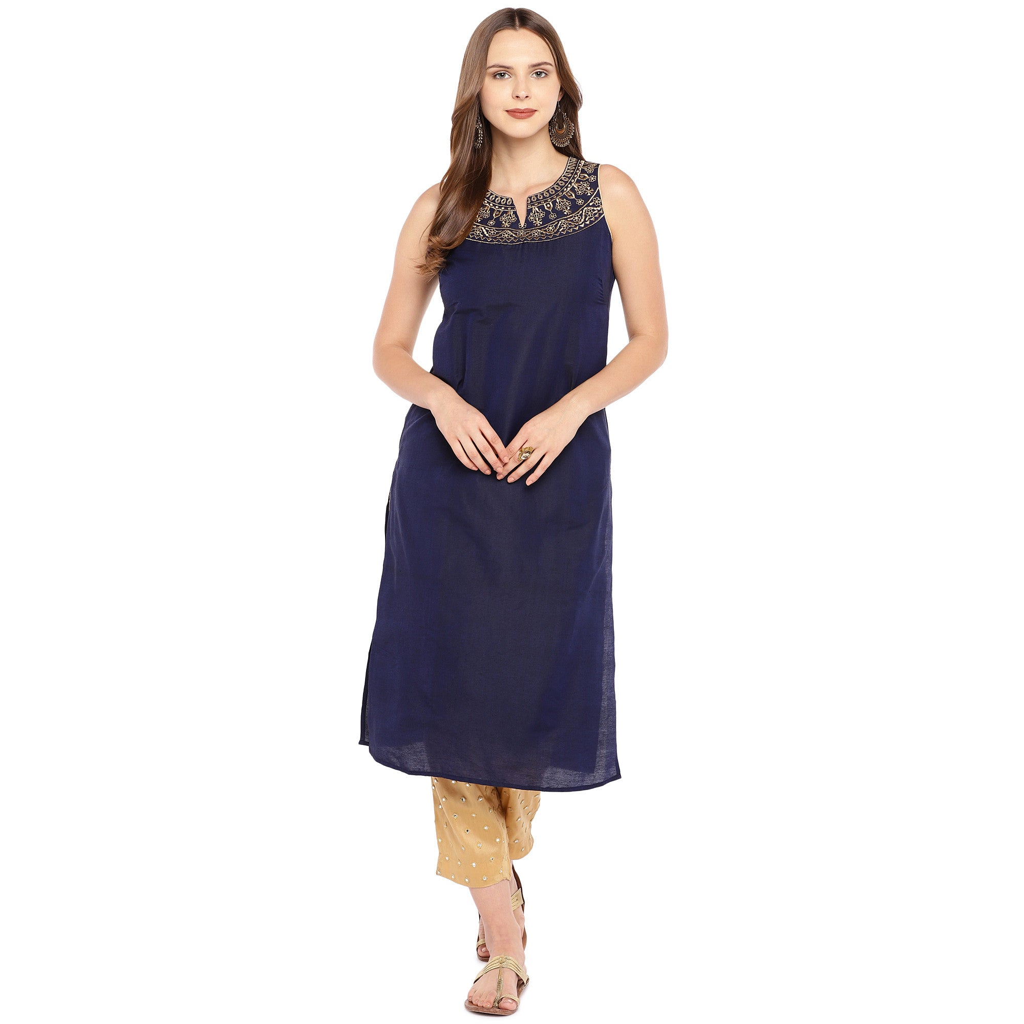 Women Navy Blue Yoke Design Straight Kurta-4