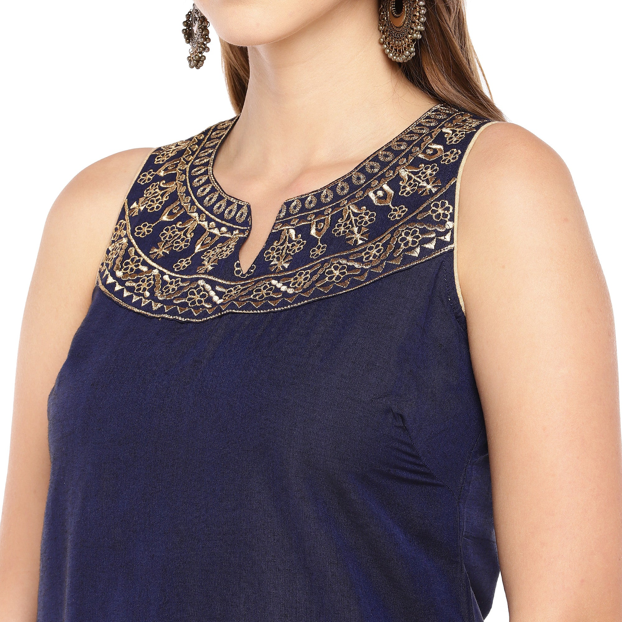 Women Navy Blue Yoke Design Straight Kurta-5