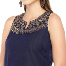 Load image into Gallery viewer, Women Navy Blue Yoke Design Straight Kurta-5