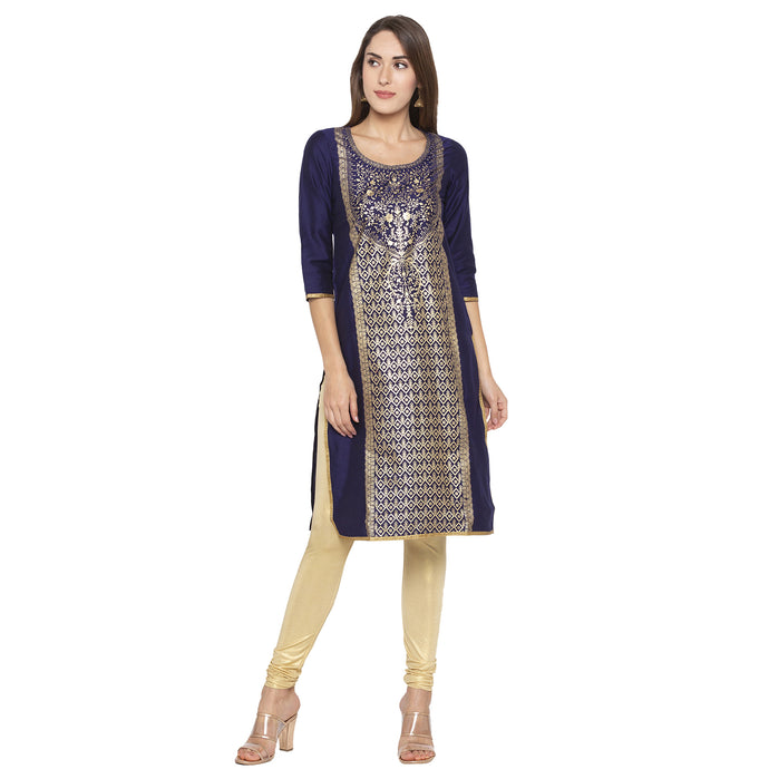 Ethnic Navy Blue Color Straight Embellished Regular Kurtas-1