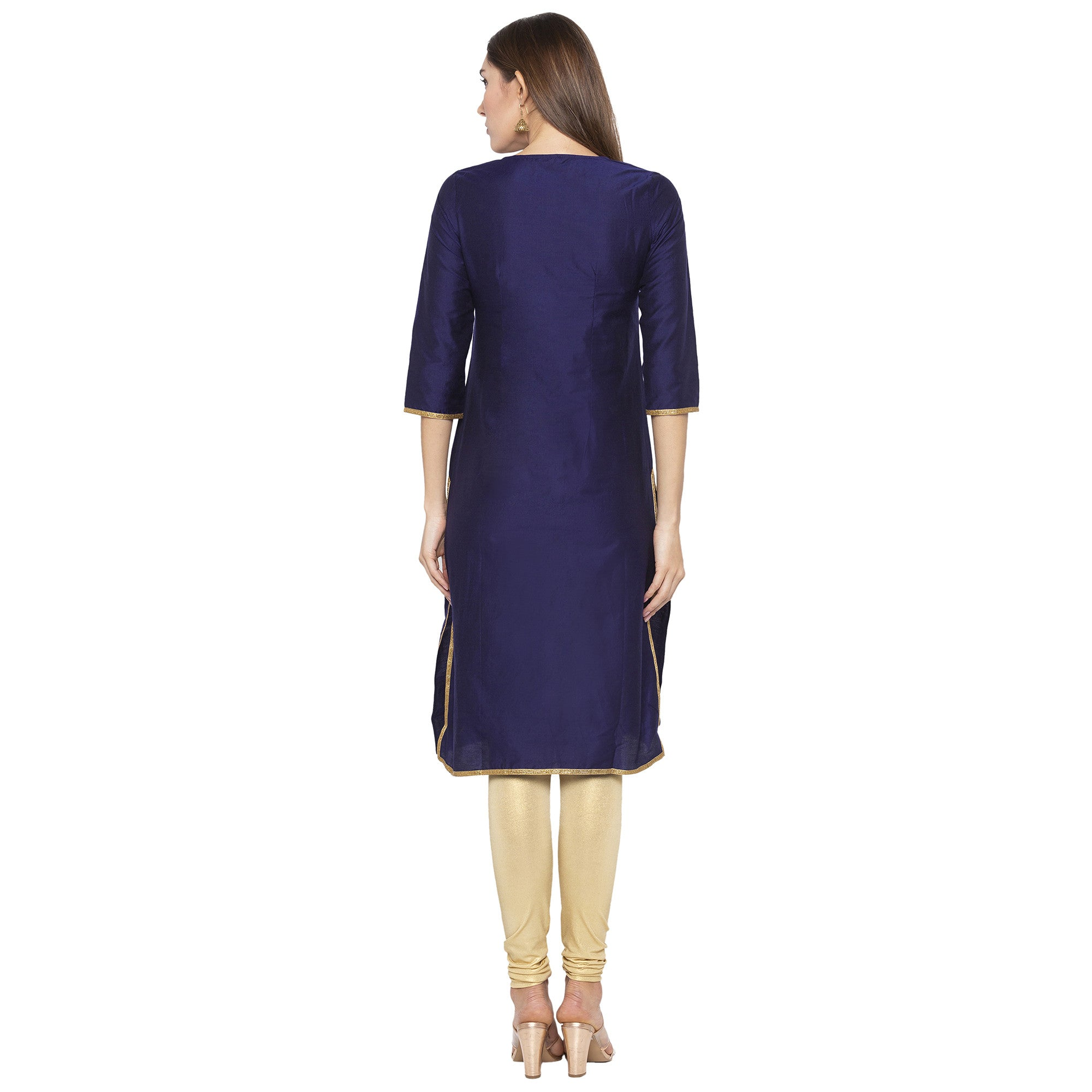 Ethnic Navy Blue Color Straight Embellished Regular Kurtas-3