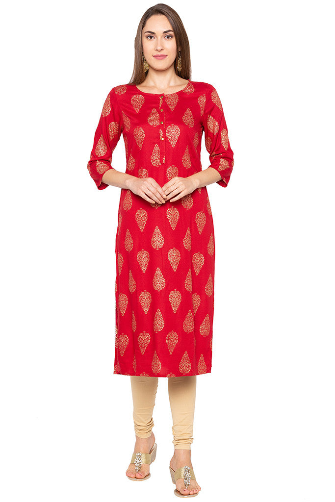 Ethnic Print Red Kurta-1