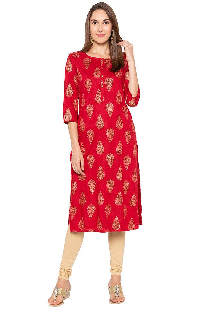 Ethnic Print Red Kurta-2