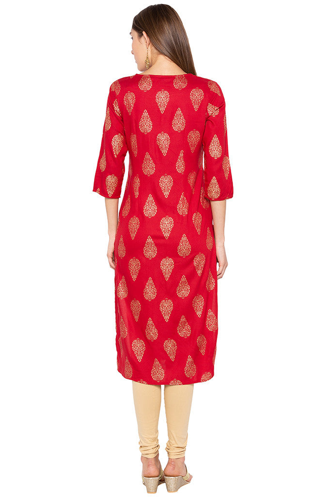Ethnic Print Red Kurta-3