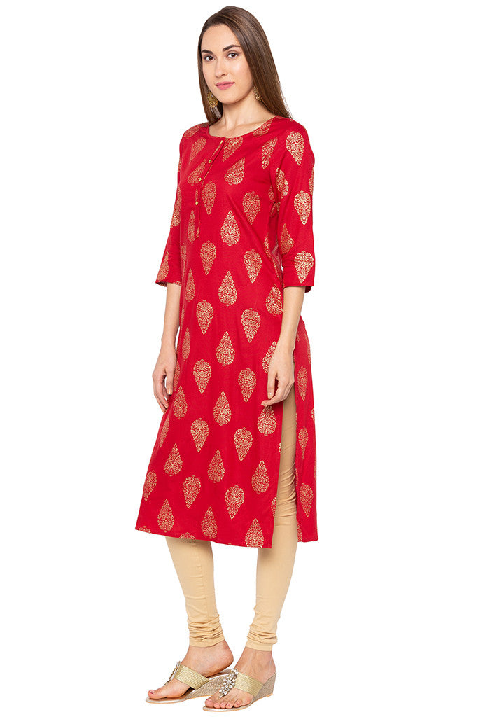 Ethnic Print Red Kurta-4