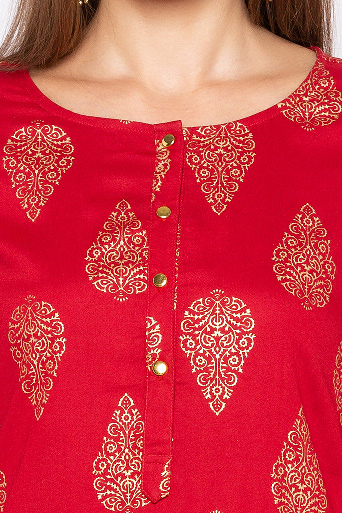 Ethnic Print Red Kurta-5