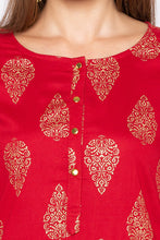 Load image into Gallery viewer, Ethnic Print Red Kurta-5