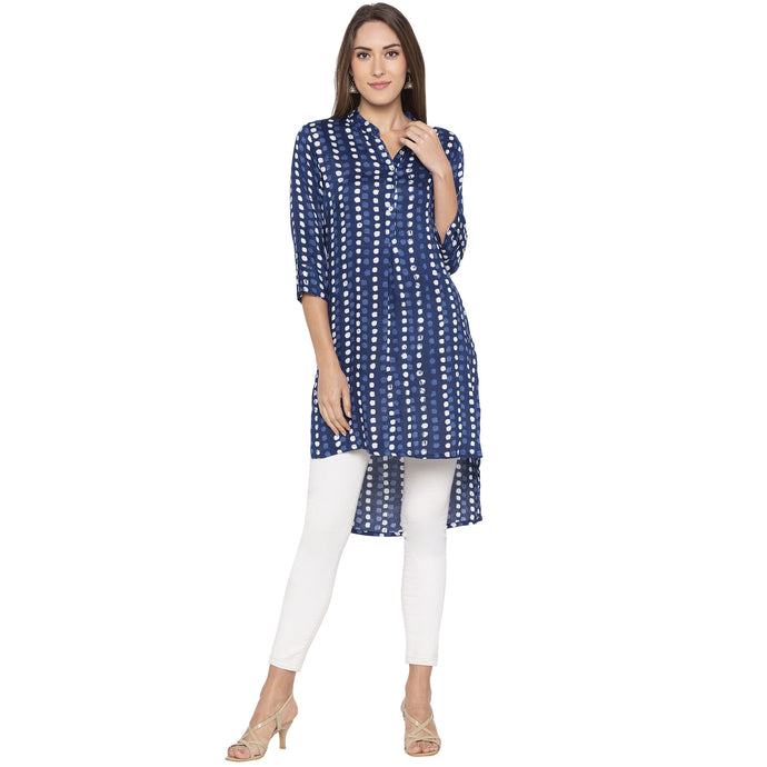 Casual Blue Color Straight Dyed Regular Kurtas-1
