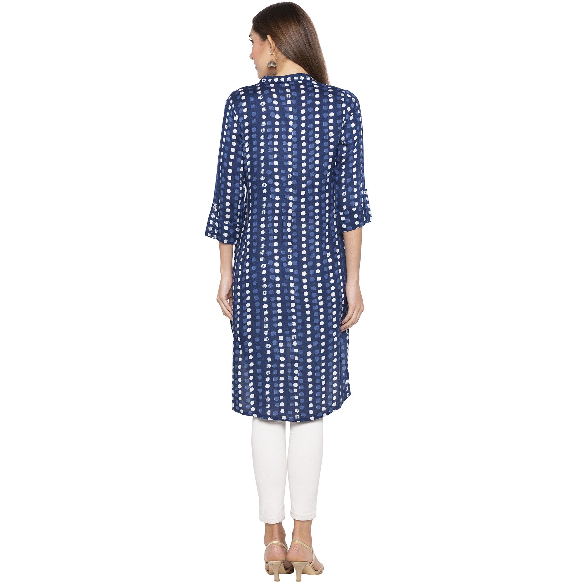 Casual Blue Color Straight Dyed Regular Kurtas-3