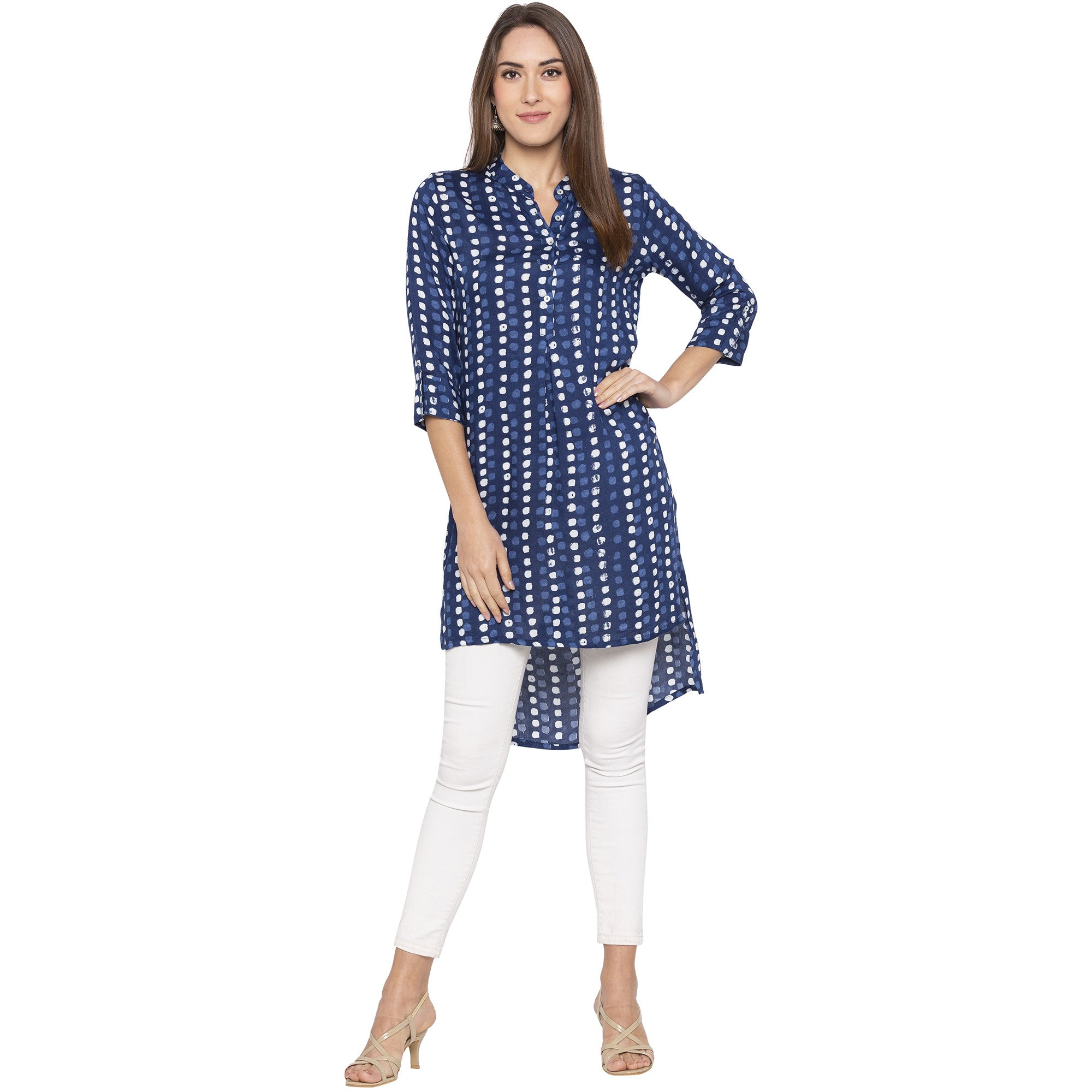 Casual Blue Color Straight Dyed Regular Kurtas-4