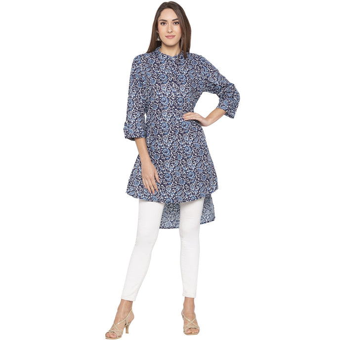 Casual Navy Blue Color A-Line Printed Regular Kurtas-1