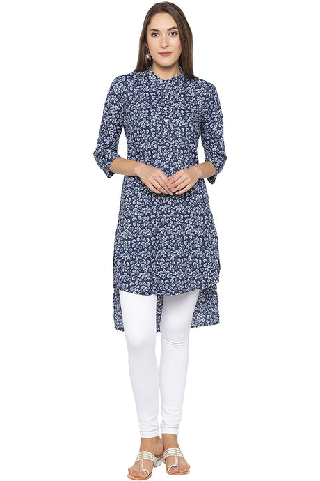 Floral Print High Low Navy Blue Kurta-1