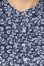 Load image into Gallery viewer, Floral Print High Low Navy Blue Kurta-5