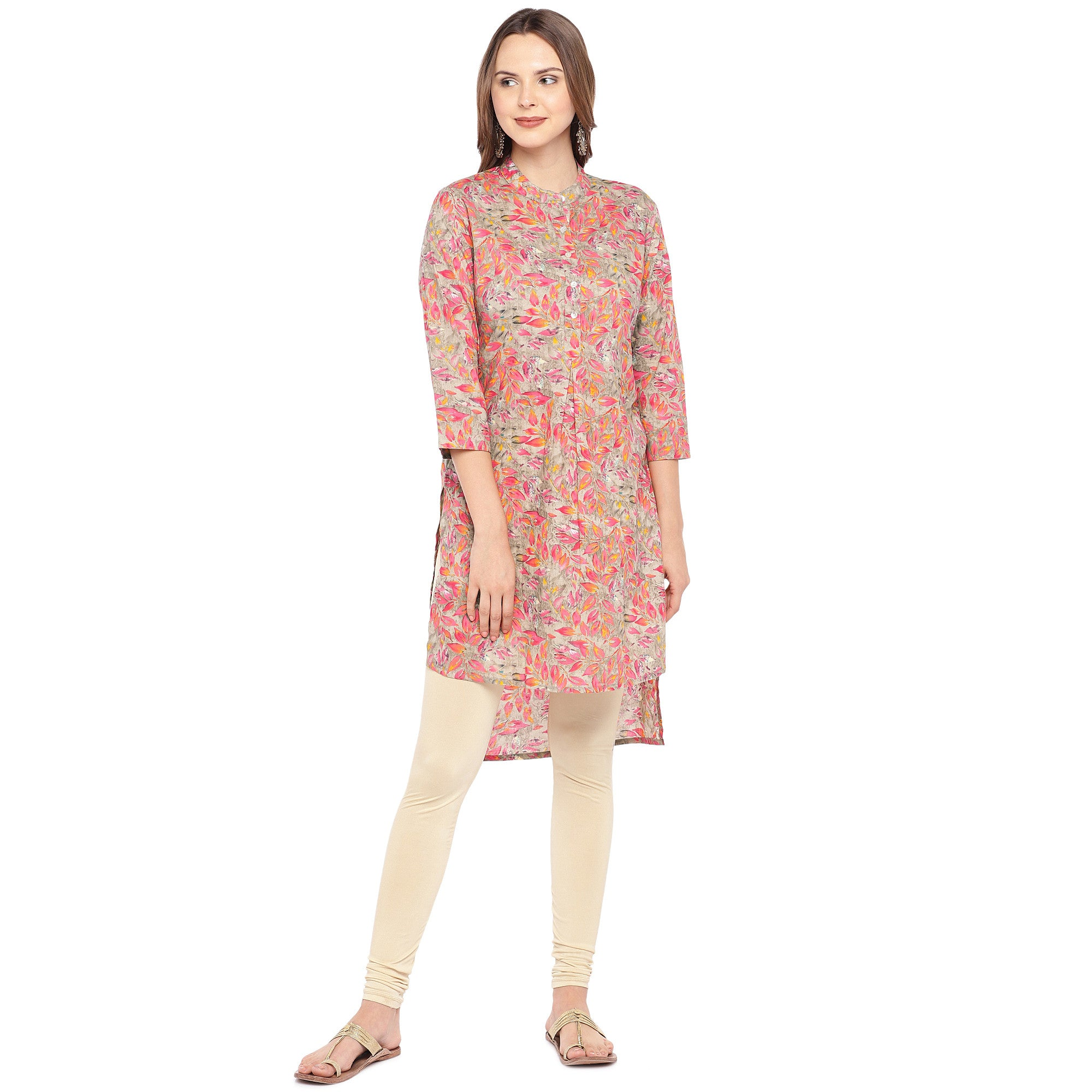 Women Pink Printed Straight Kurta-1
