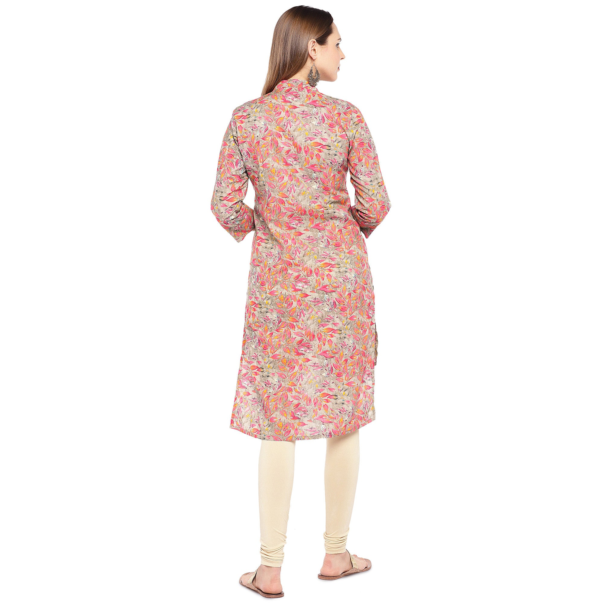Women Pink Printed Straight Kurta-3