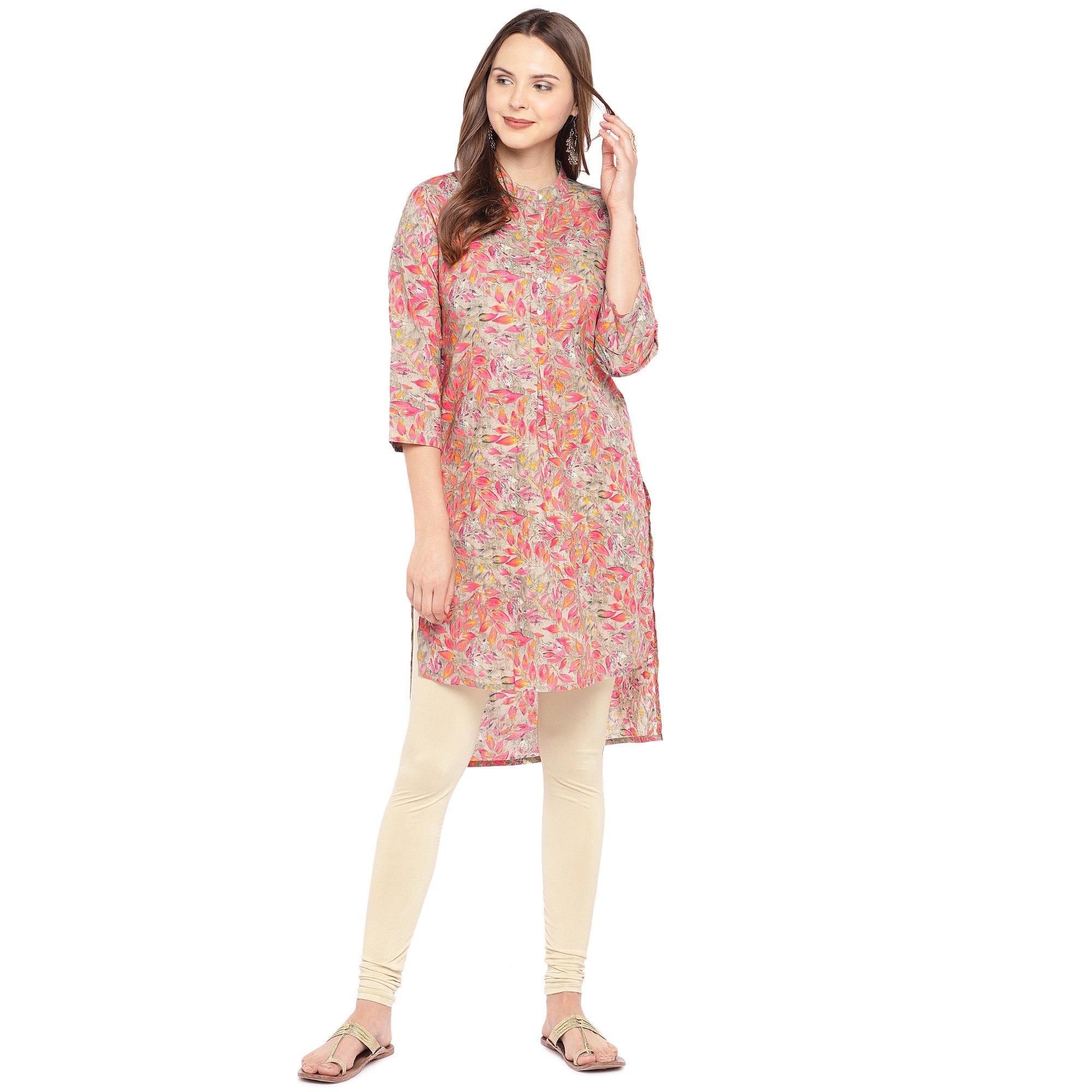 Women Pink Printed Straight Kurta-4