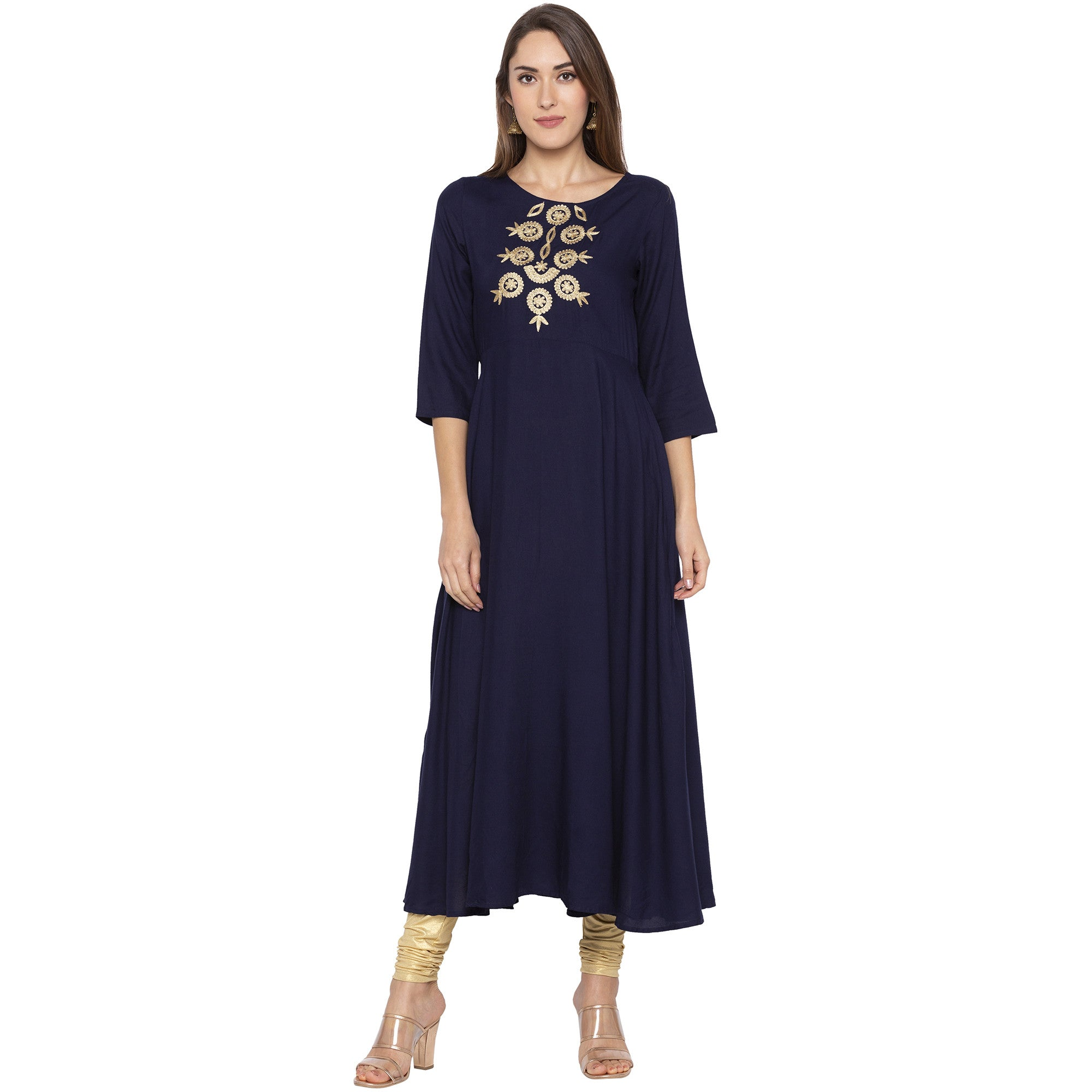 Ethnic Navy Blue Color Anarkali Embroidered Pleated Kurtas-1