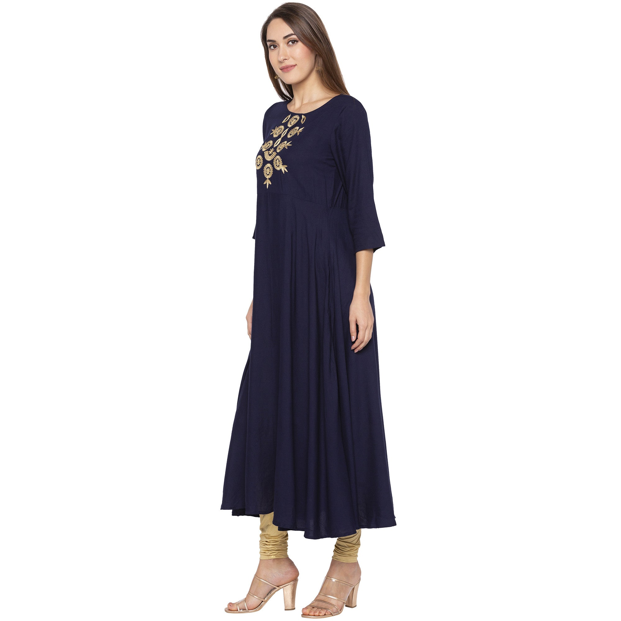 Ethnic Navy Blue Color Anarkali Embroidered Pleated Kurtas-2
