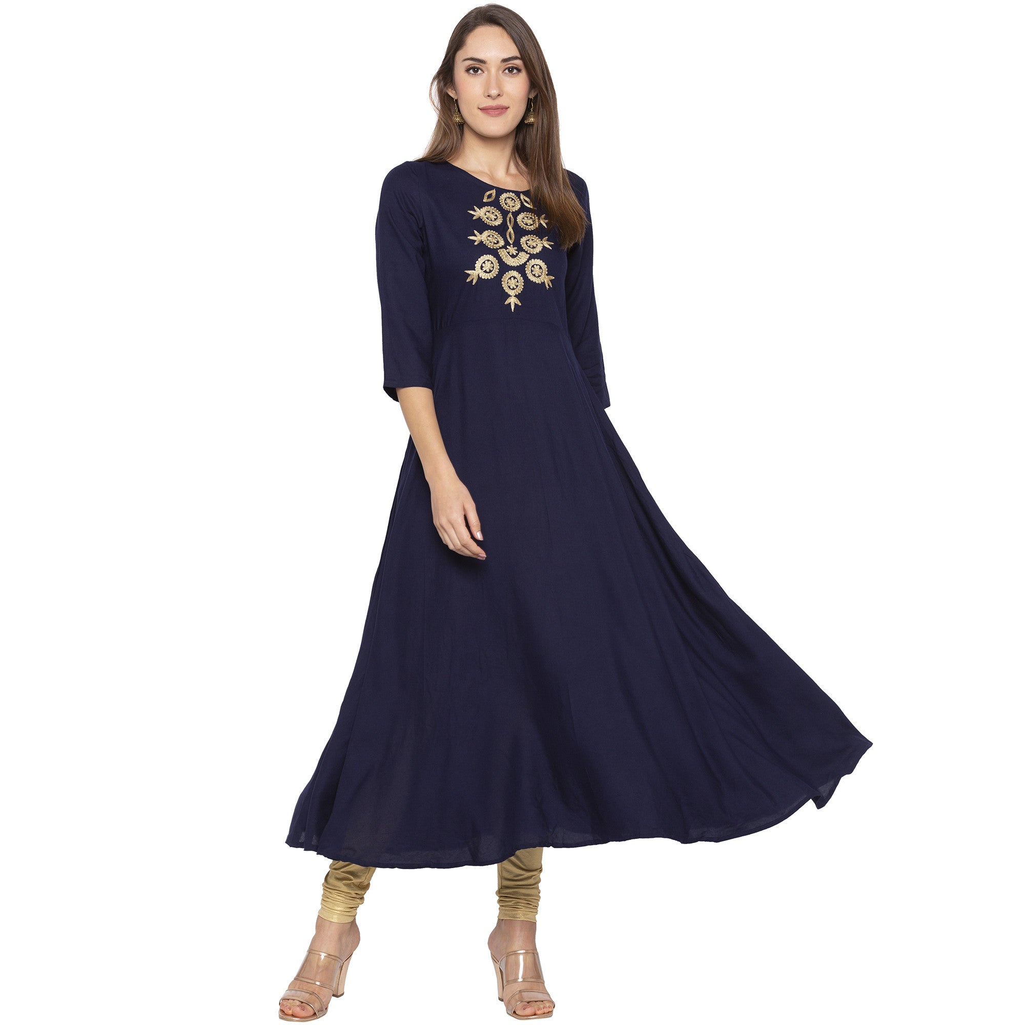 Ethnic Navy Blue Color Anarkali Embroidered Pleated Kurtas-4
