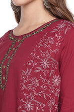 Load image into Gallery viewer, Maroon printed Kurta-5