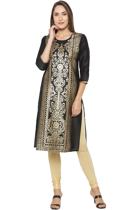 Printed Front Straight Fit Black Kurta-1