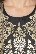 Load image into Gallery viewer, Printed Front Straight Fit Black Kurta-5