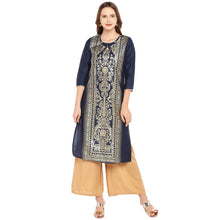 Load image into Gallery viewer, Women Navy Blue Printed Straight Kurta-1